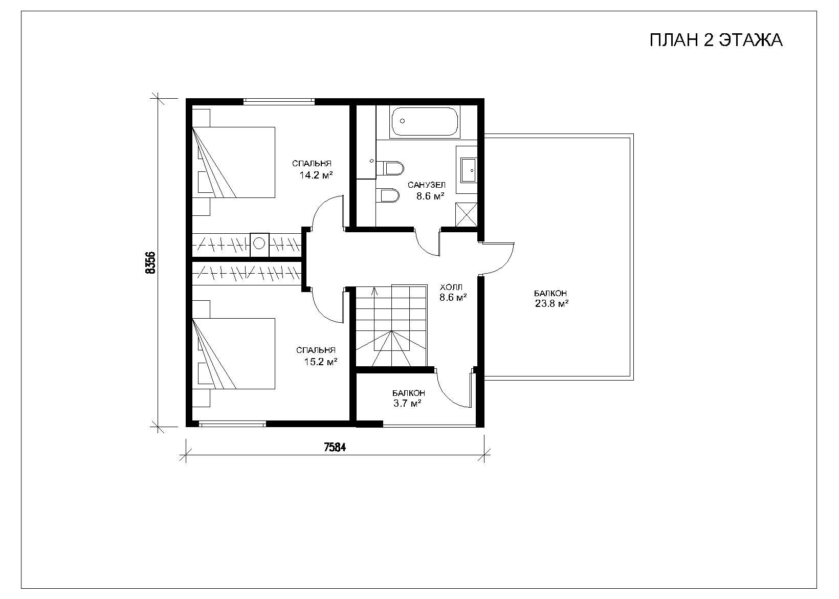 Схема планировки балкона.